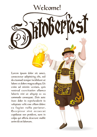 lederhosen: Oktoberfest.  poster. A truly German national costume with a beer.