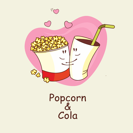 Popcorn and Cola, love is forever. Popcorn and a drink cuddling on the background of hearts. Comic, cartoon. Vector illustration. Ilustração