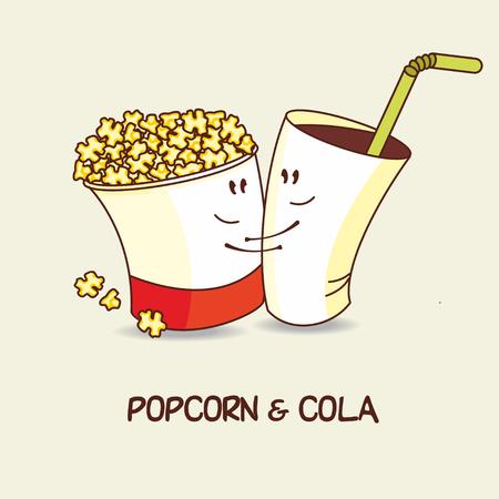 amigos abrazandose: Palomitas de maíz y refrescos de cola, el amor es para siempre. Palomitas y una bebida de abrazo. Historietas de dibujos animados. Ilustración del vector.