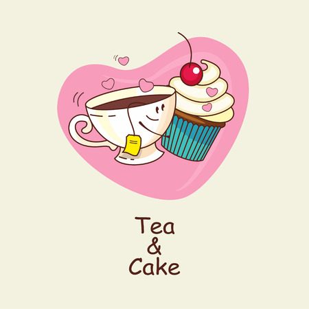 amigos abrazandose: Tea and cake, love forever. Tea and cake hugging on the background of hearts .Comic, cartoon. Vector illustration.