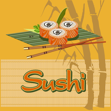 bamboo mat: Sushi on a bamboo Mat Illustration