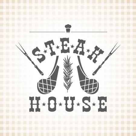 roast lamb: Restaurant grill and barbecue menu Illustration
