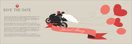 Vintage wedding invitation, the bride and groom on a motorcycle with space for text.