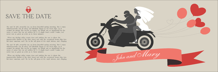 Vintage wedding invitation the bride and groom on a motorcycle with space for text