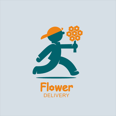 Delivery Supplier of flowers. Stock Illustratie