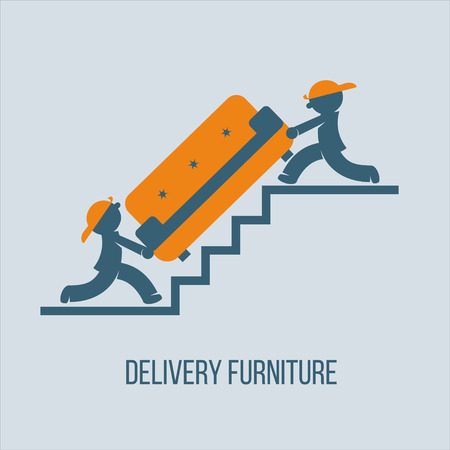 movers: Shipping furniture. Vector illustration. Two porter carrying the sofa up the stairs.