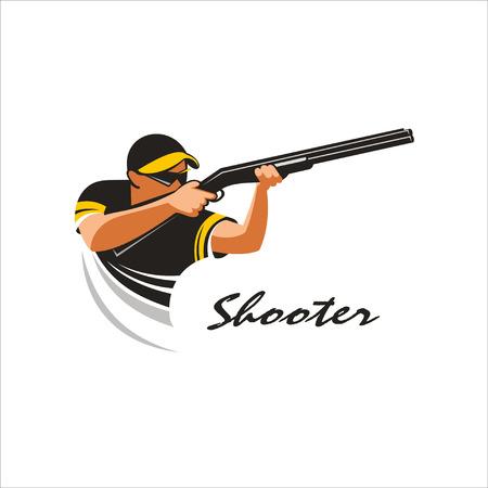 hombre disparando: Tirador. Disparar desde una pistola de marca de placas