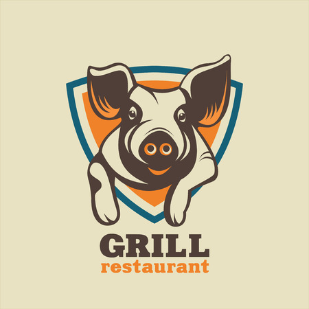 Vintage icon for a barbecue restaurant. Agriculture. Pig. Fresh pork. Meat.