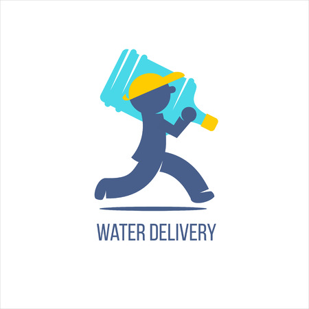 Water delivery service. Delivery man with big bottle on a shoulder. Vetores