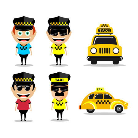 Taxi driver and taxi. Set of vector illustrations, characters and icons taxi. Illustration
