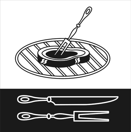 bbq ribs: Barbecue. Vector sign. BBQ facilities, . Steak barbecue on the grill.