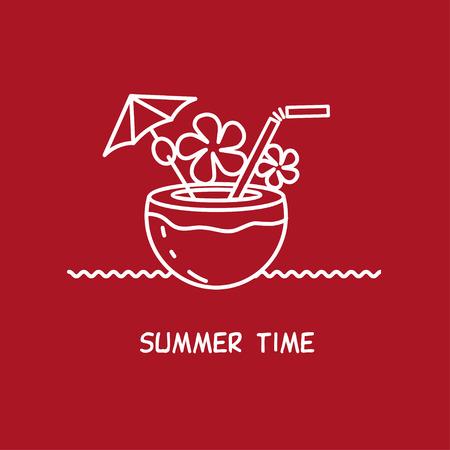 tipple: Cocktail in a coconut. Vector sign, emblem, . Summer time. Illustration