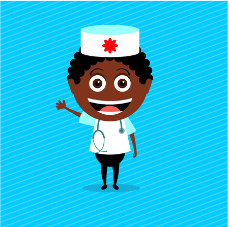stethoscope boy: Doctor african-american. Vector illustration, character. The boy in the doctor costume with stethoscope. Illustration