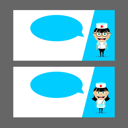 polyclinic: Doctor, nurse with stethoscope and thermometer.  Speech Balloon. Vector illustration, character. Set of business cards, flyers. Medicine.