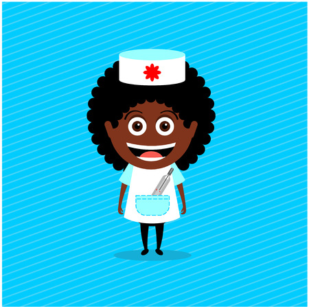 phonendoscope: Doctor, nurse, african-american. Vector illustration, character. The girl in the nurse costume with a thermometer in his pocket Illustration