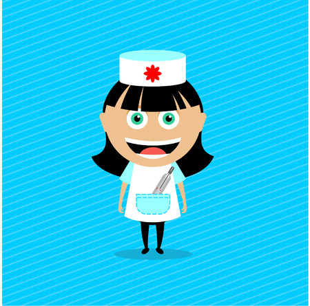 Doctor, the nurse. Vector illustration, character. The girl in the nurse costume with a thermometer in his pocket.