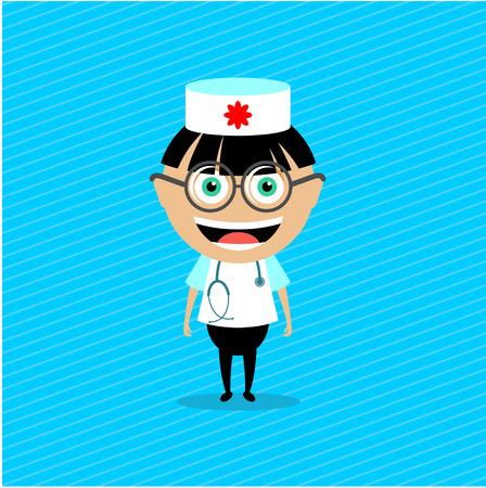 enfermera con cofia: Doctor. Ilustración del vector, carácter. El muchacho en el traje médico con estetoscopio. Vectores
