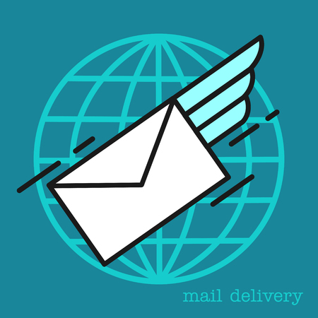 Letter. E-mail. Mail.  Delivery of letters all over the world. Illustration