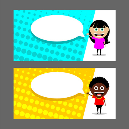 People, a girl and a boy point to the speech balloon. A man and a woman. Vector illustration. Business card, flyer, invitation. Illustration