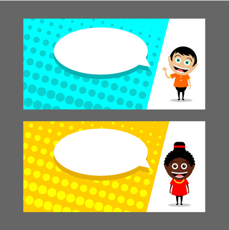 People, a girl and a boy. A man and a woman. Speech balloon. Vector illustration. Business card, flyer, invitations. Vettoriali