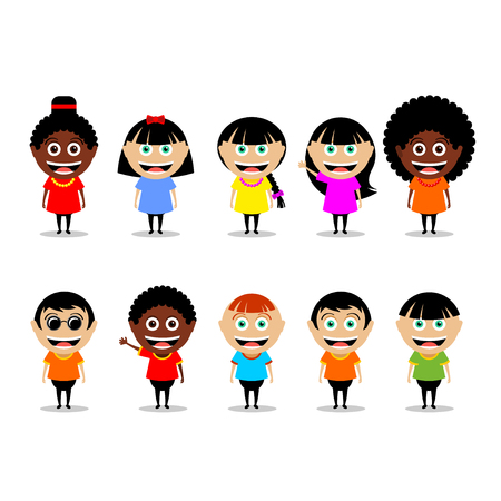 europeans: People, a set of vector characters. Girls and boys, African Americans and Europeans isolated on white background.