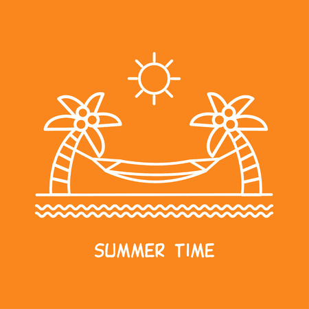 exotica: Summer time vacation. Hammock between palm trees. Vector