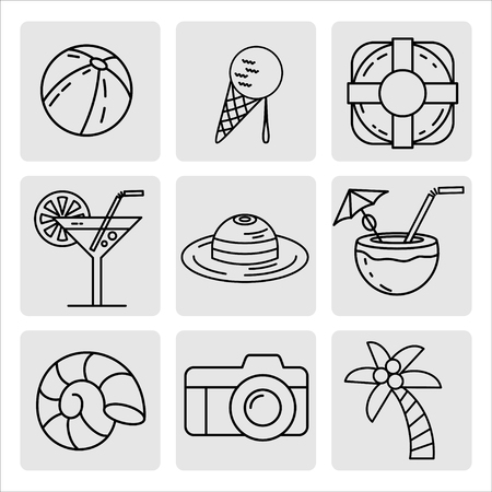 Summer vacation set of icons, design elements. Ball, camera, palm tree, ice cream, life ring, cocktail, coconut, hat, shell