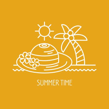Summer vacation, summer. Vector . Palma and hat.
