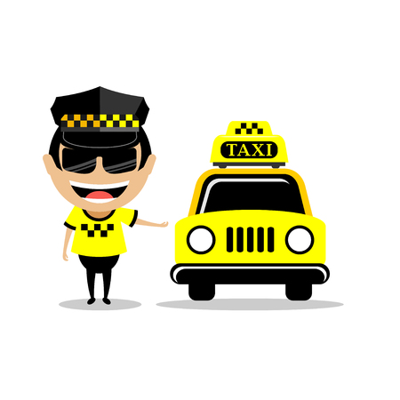 Taxi car and driver in welcome action. character design - vector illustration taxi concept concept. character design - vector illustration Illustration