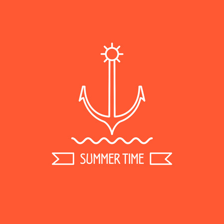 schooner: Summer. Anchor. The emblem of sea travel. Ribbon with the inscription summer.
