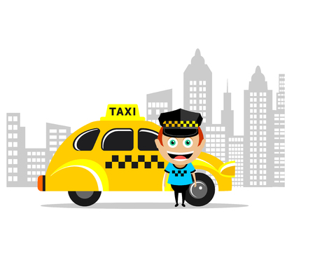 Taxi driver and the taxi. Vector illustration, icon taxi. Illustration