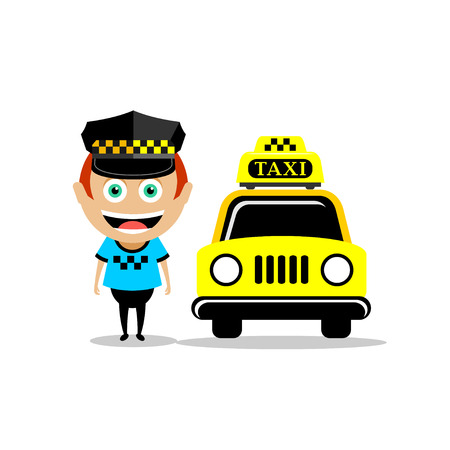autobus: Taxi driver and the taxi. Vector illustration, icon taxi. Illustration