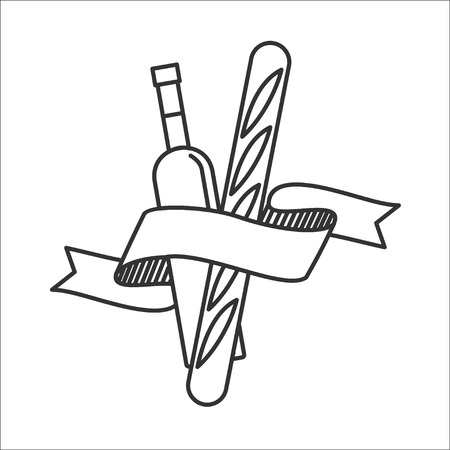 Wine bottle and a French baguette. Vector icon. Isolated on a white background.