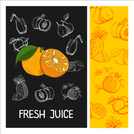 apples and oranges: Orange juice. Fruit. Vector illustration. Fruit drawn in chalk on a black Board. Hand drawn vector illustration. Illustration