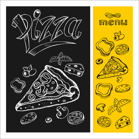 margherita: Pizza. Menu. Pizza drawing with chalk on black Board. Hand drawn. Vector illustration.