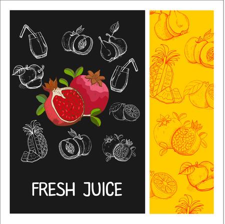 stylus: Pomegranate juice. Fruit. Vector illustration. Fruit drawn in chalk on a black Board. Hand drawn vector illustration.