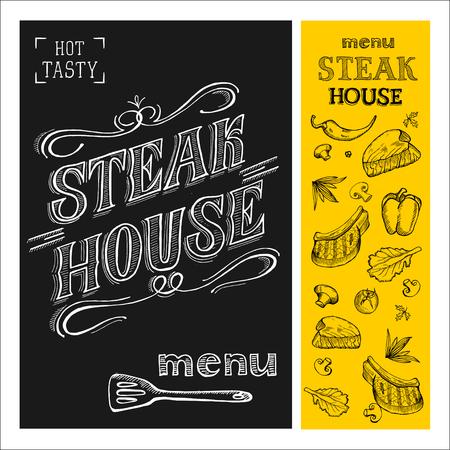 Steak house menu. Steak drawn in chalk on a black Board. Hand drawn. Vector illustration. Illusztráció