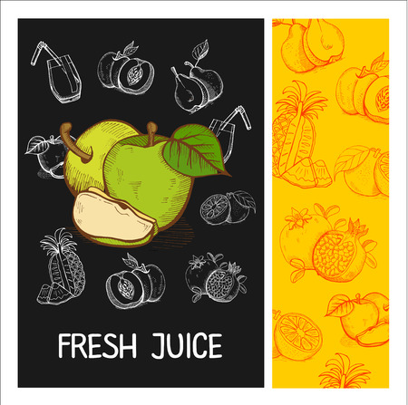 apples and oranges: Apple juice. Fruit. Vector illustration. Fruit drawn in chalk on a black Board. Hand drawn vector illustration. Illustration
