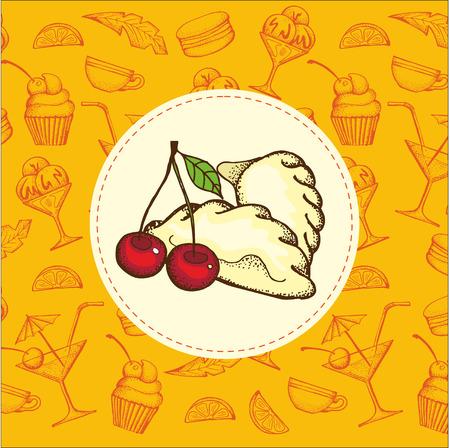 Cartoon dumplings with cherries. Hand drawn vector illustration.
