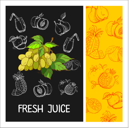 apples and oranges: Grape juice. Fruit. Vector illustration. Fruit drawn in chalk on a black Board. Hand drawn vector illustration.