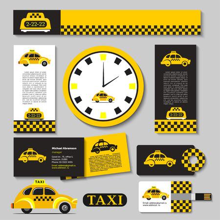 Taxi conjunto de elementos de identidad corporativa Ilustración de vector