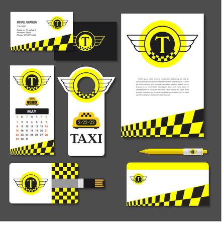 taxista: Taxi conjunto de elementos de identidad corporativa