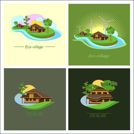 ecovillage: Set of 4 ECO-village Illustration