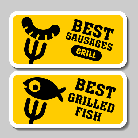 grilled salmon: Barbecue and grill stickers, badges, logos and emblems, vector. Restaurant steak house design elements. Fish grill, sausage grill.