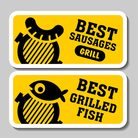 Barbecue and grill stickers, badges, logos and emblems, vector. Restaurant steak house design elements. Fish on the grill, sausage grill.