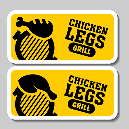 Barbecue and grill stickers, badges, logos and emblems, vector. Restaurant steak house design elements. Grilled chicken, grilled chicken legs. Illustration