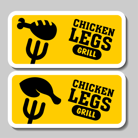 Barbecue and grill stickers, badges, logos and emblems, vector. Restaurant steak house design elements. The grilled chicken. Illustration