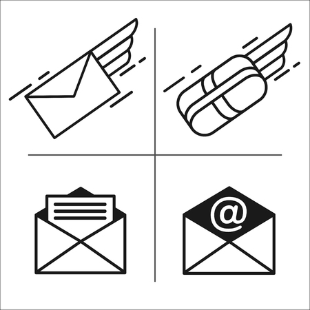 Set of vector icons. Mail. E-mail. Letter, parcel, mail. Fast delivery of letters. Иллюстрация