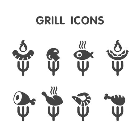 Set grill bar labels, logos. Label Steakhouse. The grill restaurant labels and design elements. Chicken, sausage, pork, vegetables, shrimp on the grill.