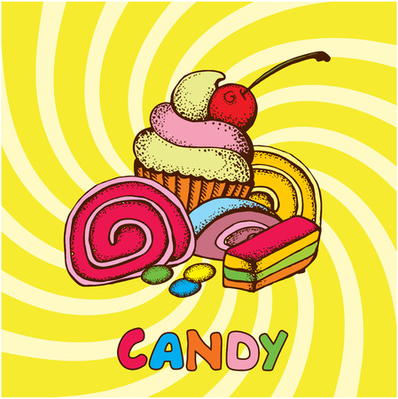 sweetstuff: Bright background with candies and marmalade and cake.